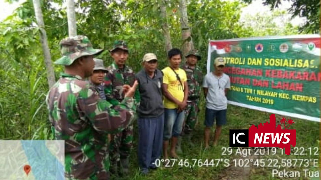 Cegah Karlahut, Tim Subsatgas 08 Kodim 0314/Inhil Gencar Lakukan sosialisasi dan Patroli