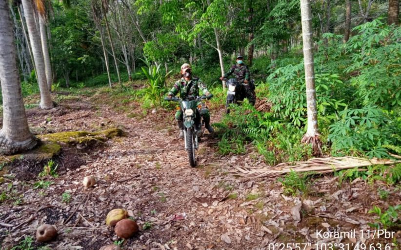 Cegah Karhutla, Babinsa Koramil 11/Pulau Burung Gelar Patroli dan Sosialisasi