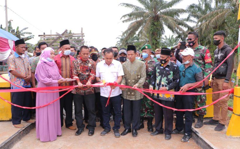 Ketua DPRD Inhil Resmikan Jembatan Penghubung 2 Desa di Kemuning