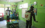 Kodim 0314/lnhil pagi ini lakukan program penyemprotan disinfektan di seluruh perkantoran,TK Pertiwi, perumahan asrama Kodim 0314/lnhil